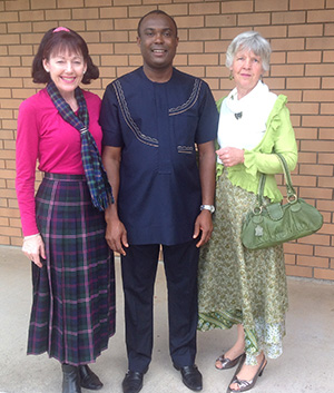 Fr Nicholas Okafor with Councillor Cathy Duff and Marcia Hunt